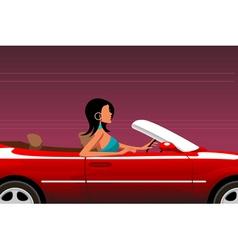 Urban woman driving car vector