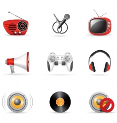Media and music icons vector