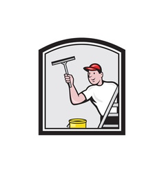 Window washer cleaner cartoon vector