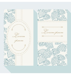 Business card set with outline blackberries vector
