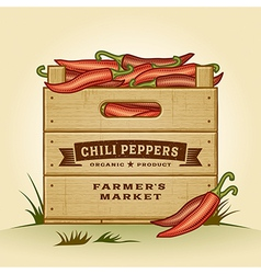 Retro crate of chili peppers vector