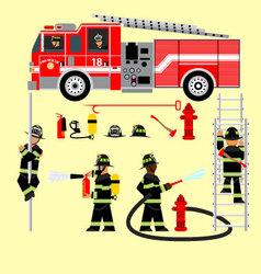 Fire truck and fireman 2 vector