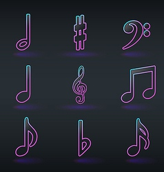 Fluorescent neon musical signs icons vector