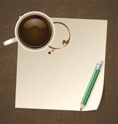 Coffee with paper note vector