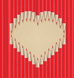 Heart shape out of pencils valentines day vector