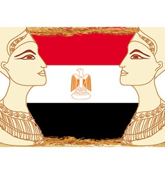 Egyptian queen cleopatra on the background of the vector