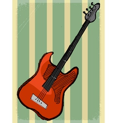Vintage background with electric guitar vector