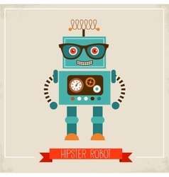 Hipster robot toy icon vector