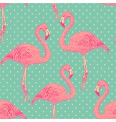 Seamless flamingo bird pattern hand drawn vector