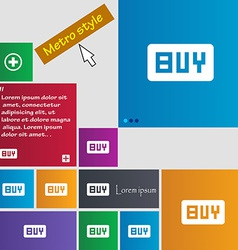 Buy online buying dollar usd icon sign metro style vector