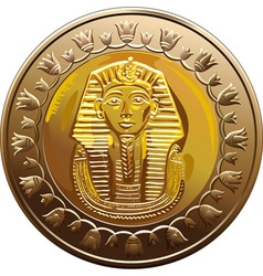 Egyptian coin featuring pharaoh vector