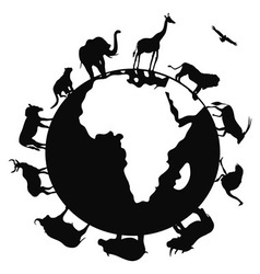 Africa animal around the world vector