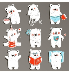 Cartoon white baby bears in action collection vector