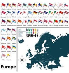 Europe political map with flags vector