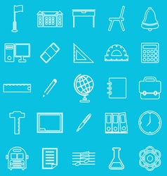 School line icons on blue background vector