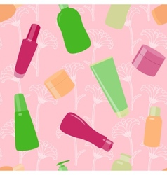 Bright seamless pattern with cosmetic bottles vector