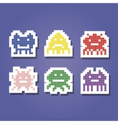 Color icons with pixel alien monsters vector