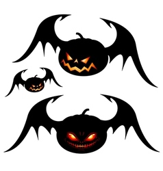 Halloween pumpkins with wings vector