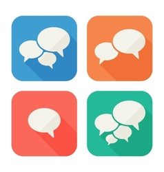 Trendy flat icons with speech bubbles vector