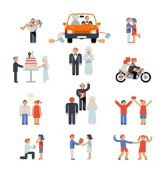 Assortment of couple icons vector