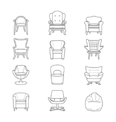 Flat line armchair isolated icons set vector