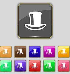 Cylinder hat icon sign set with eleven colored vector