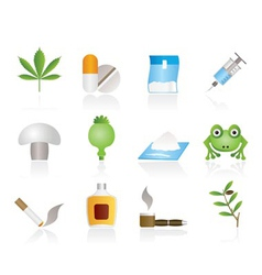 Drugs narcotics icons vector