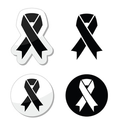 Black ribbon - mourning death melanoma symbol vector