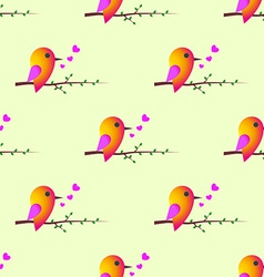 Bird sparrow st valentines day seamless pattern vector