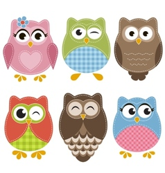 Colorful owls set vector