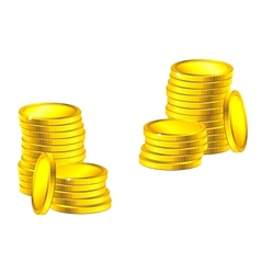 Columns of golden coins vector