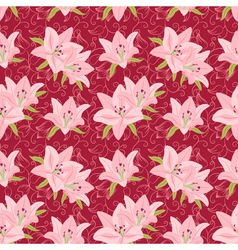 Floral seamless background with lily vector