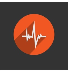 Pulse heart rate icon in flat style with long vector