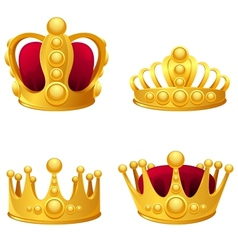 Set of gold crowns isolated vector