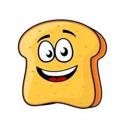 Slice of bread or toast with a beaming smile vector