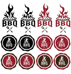 Vintage grunge labels of bbq vector
