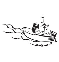 Commercial fishing boat vector