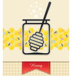 Jar with honey and spoon vector
