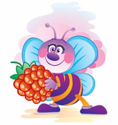 Bee with a berry vector