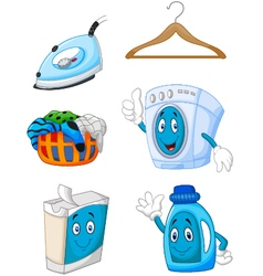 Happy cartoon laundry vector