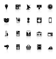Home related icons with reflect on white vector