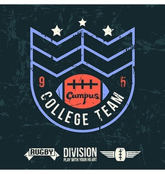 Emblem of the college rugby team vector