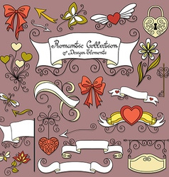 Romantic collection of hand drawn design elements vector
