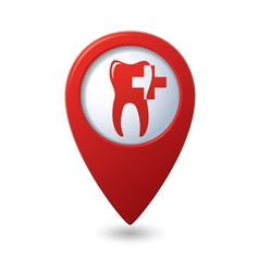Dental clinic icon on red map pointer vector