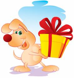 Dog with gift vector