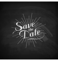 Chalk of handwritten save the date vector