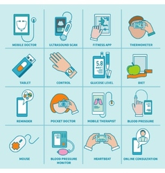 Digital health icons set flat line vector