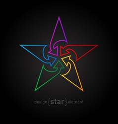 Abstract rainbow star design element made of thin vector