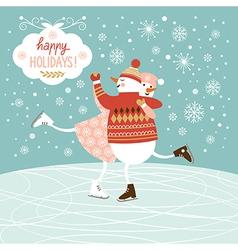 Cute snowmans skate vector