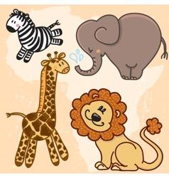 Cute cartoon baby african animals set vector